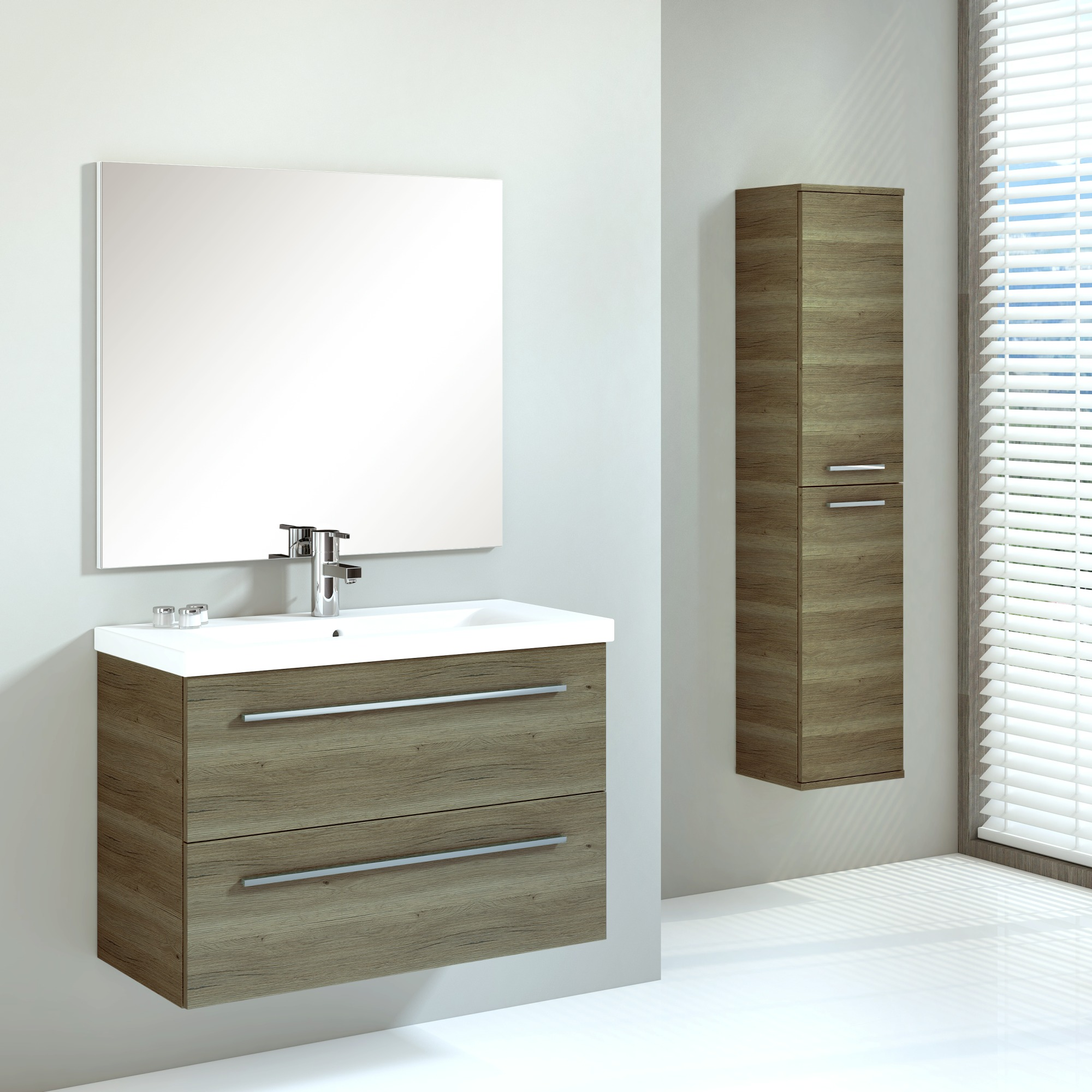 Meuble de salle de bains hera handson 80 cm bois set avec for Armoire de salle de bain bois