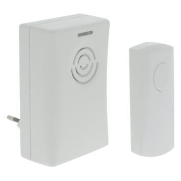 Doorman plug-in deurbel met drukknop draadloos 50 meter wit