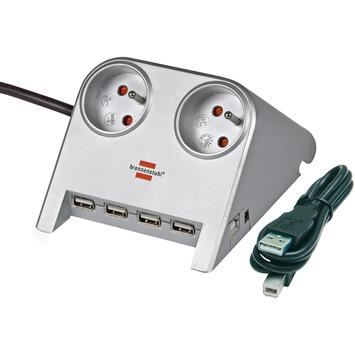 Brennenstuhl Desktop-Power-Plus stekkerdoos 2-voudig met 4x USB 2.0 poort 1,8 m zilver