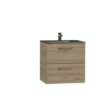 Tiger Studio badkamermeubel 60 cm chalet eiken met wastafel polybeton mat zwart greep inox rechthoekig