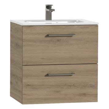 Tiger Studio badkamermeubel 60 cm chalet eiken met wastafel keramiek hoogglans wit greep inox afgerond