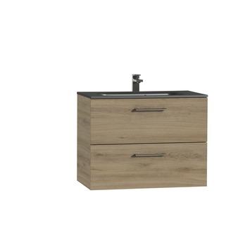 Tiger Studio badkamermeubel 80 cm chalet eiken met wastafel polybeton mat zwart greep inox afgerond