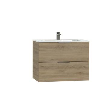 Tiger Studio badkamermeubel 80 cm chalet eiken met wastafel keramiek hoogglans wit greep inox plat
