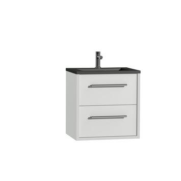 Tiger Boston badkamermeubelset 60 cm wit met wastafel zwart en greep chroom