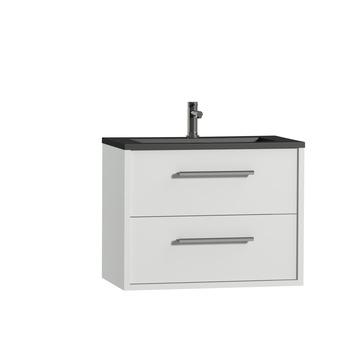 Tiger Boston badkamermeubelset 80 cm wit met wastafel zwart en greep chroom
