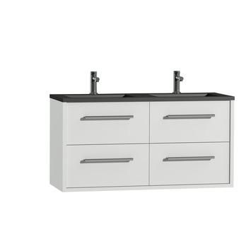 Tiger Boston badkamermeubelset 120 cm wit met wastafel zwart en greep chroom