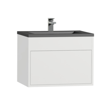 Tiger Helsinki badkamermeubel 60 cm hoogglans wit met wastafel polybeton zwart