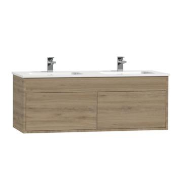 Meuble sous-lavabo Tiger Helsinki 120 chêne chalet avec lavabo céramique