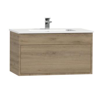 Meuble sous-lavabo Tiger Helsinki 80cm chêne chalet avec lavabo céramique