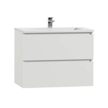 Meuble de salle de bain Karlo Tiger 80 cm blanc brillant avec lavabo blanc brillant