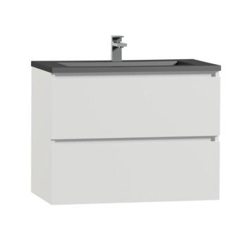 Meuble de salle de bain Karlo Tiger 80 cm blanc brillant avec lavabo noir