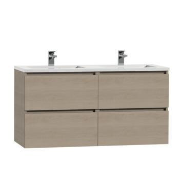 Meuble de salle de bain Karlo Tiger 120 cm chêne naturel avec double lavabo blanc brillant