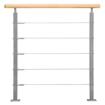 Sogem borstwering beuken/metaal 100 cm voor trap Alsace