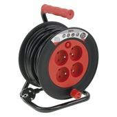 Enrouleur de câble rouge-noir 3x 1,5 mm² - 10 m