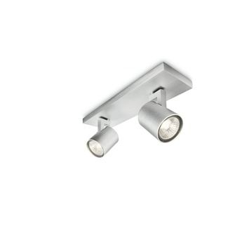 Support 2 spots Runner Philips ampoules excl 2x GU10 max.50 W gris