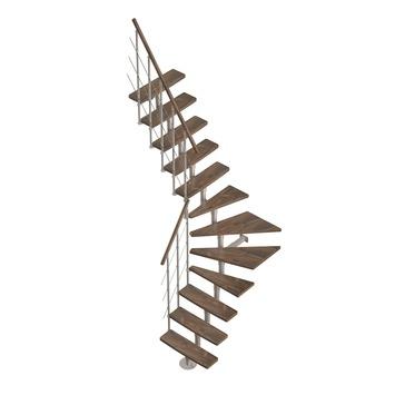 Arizona ruimtebesparende trap (12 treden) met verniste beuken treden in walnoot kleur hoogte 304 cm, breedte 70 cm
