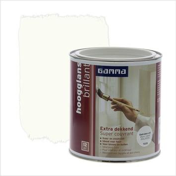 GAMMA lak extra dekkend hoogglans RAL9010 gebroken wit 750 ml