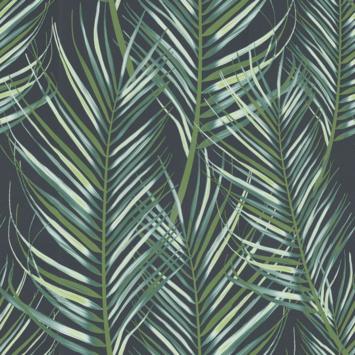 Papier peint intissé 10 m x 52 cm motif 100558 palmiers vert bleu