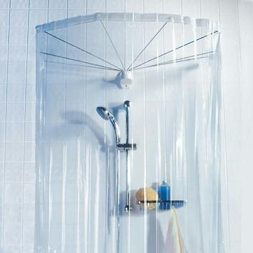 rideau de douche ombrella spirella avec 8 bras transparent chrom rideaux barres anneaux de. Black Bedroom Furniture Sets. Home Design Ideas