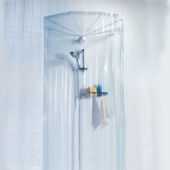 Rideau de douche Ombrella Spirella avec 8 bras blanc chromé