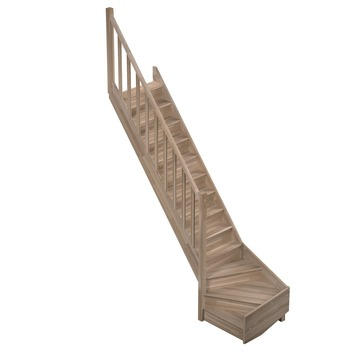 Sogem Tradi Eco trap eiken met kwartslag links 280x80 cm