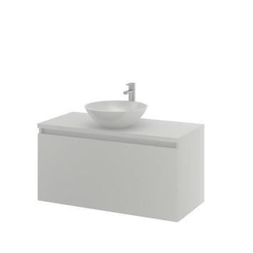 Bruynzeel Nerano badkamermeubelset 100 cm mat wit met opbouw lavabo