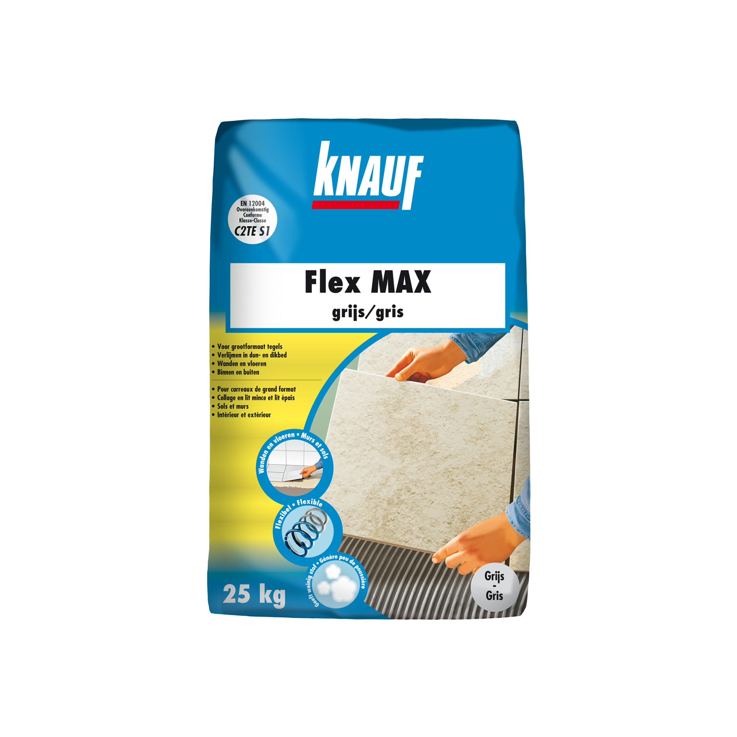 Colle flexible pour carrelage knauf 25 kg gris colle for Colle carrelage flexible