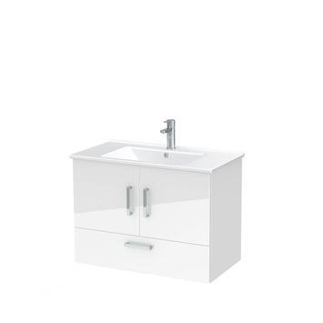 Meuble de salle de bain Omni avec lavabo blanc haute brillance 85 cm