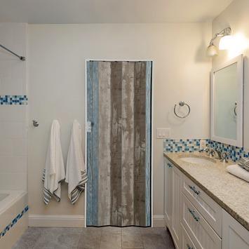 Grosfillex vouwdeur Spacy Cabane pvc naturel en blauw 84x205 cm