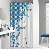 Rideau de douche Tangram Sealskin polyester 180x200 cm bleu