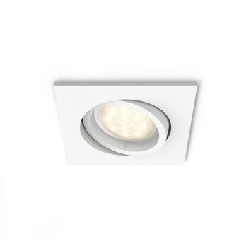 Spot encastrable LED intégrée Philips Shellbark 4,5W 500 lm carré orientable blanc
