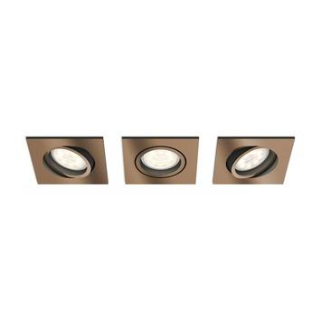 Spot encastrable LED intégrée Philips Shellbark 4,5W 500 lm carré orientable cuivre 3 pièces