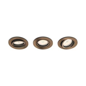 Spot encastrable Philips Donegal excl GU10 rond orientable max. 5,5W cuivre 3 pièces