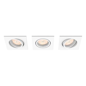 Spot à encastrer orientable carré Donegal Philips GU10 max. 5,5 W blanc 3 pièces