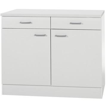 Élément bas 2 portes 2 tiroirs Optifit Klassik60 84,5x100x60 cm avec plan de travail