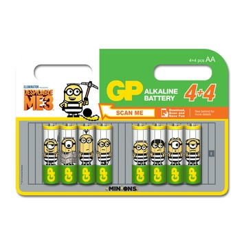 Piles alcalines AA Minions 4+4 pièces GP