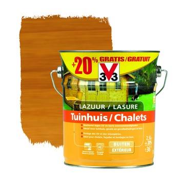 V33 beits tuinhout zijdeglans lichte eik 2,5 L + 20% extra