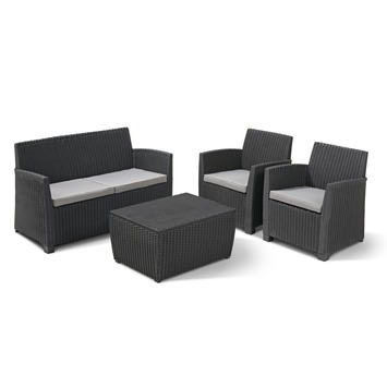 Allibert ensemble lounge Corona avec box à coussins anthracite