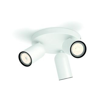 Support 3 spots Pongee Philips 3x GU10 sans ampoules max. 10 W blanc