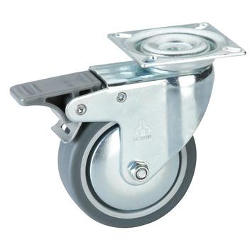 Roulette pivotante avec plateau et frein 50 kg