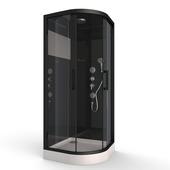 Cabine de douche Black Mirror 2 Aurlane 1/4 rond 90x90 cm