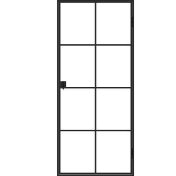 Solid stalen deur Ferro Classico met 8 glasverdelingen 204x88 cm links
