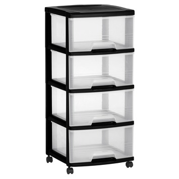 tour de rangement roulettes 4 tiroirs eify allibert noir 4x 20 l. Black Bedroom Furniture Sets. Home Design Ideas