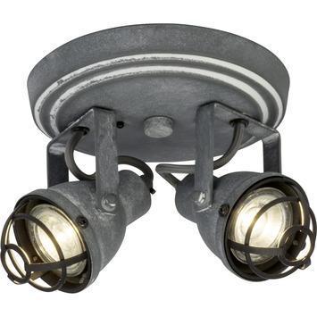 Spot à appliquer rond orientable Bente Brilliant 2x GU10 4 W gris béton