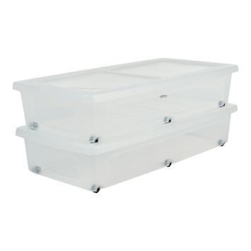 Onderbedbox op wieltjes set van 2 stuks 38 liter transparant met deksel