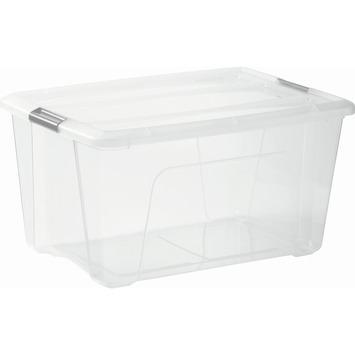 Boîte de rangement Top 45 L transparent avec clips gris avec couvercle