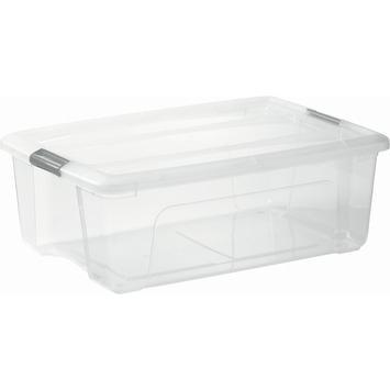 Top opbergbox 30 liter transparant met grijze clips inclusief deksel