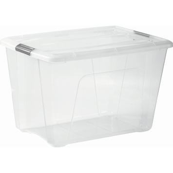 Boîte de rangement Top 60 L transparent avec clips gris avec couvercle