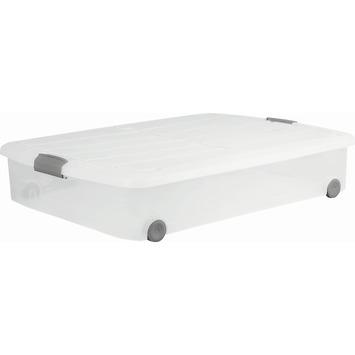 Luxe onderbedbox 50 liter transparant met deksel
