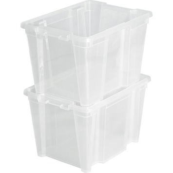 Boîte de rangement robuste Handy 30 L transparent